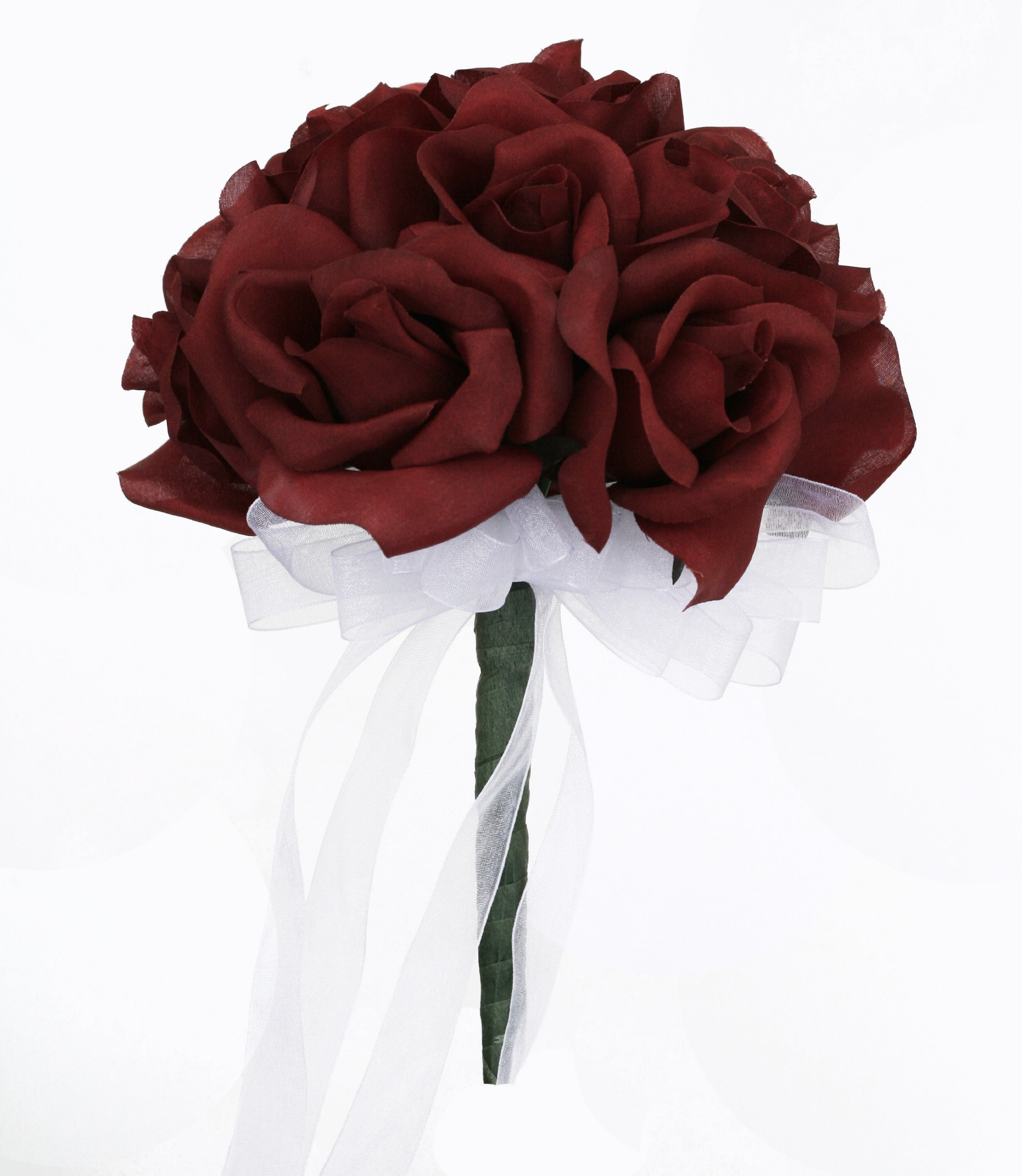 Burgundy Silk Rose Toss Bouquet - Silk Bridal Wedding Bouquet (Small)