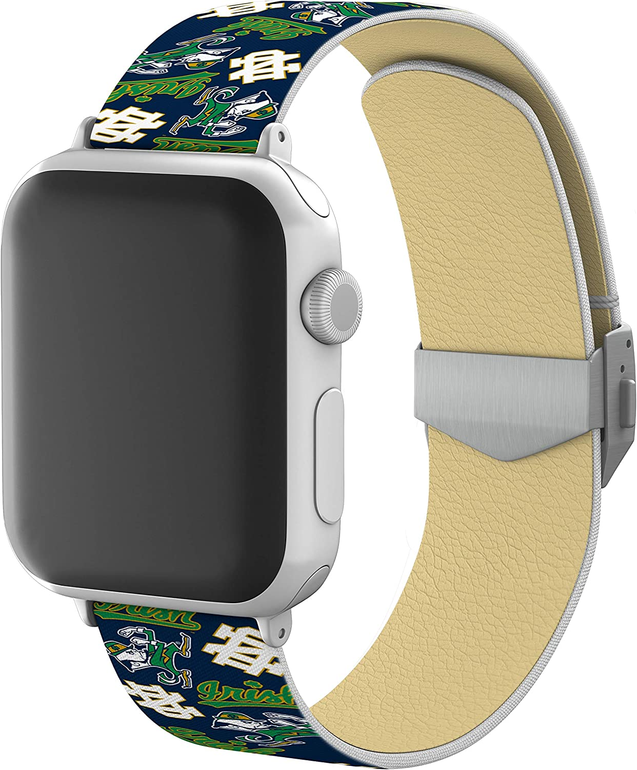 AFFINITY BANDS Notre Dame Fighting Irish Full Print Watch Band with Engraved Buckle Compatible with Apple Watch - 42mm/44mm Random Logo