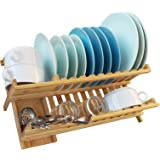 WELLAND Bamboo Dish Rack Drying Bamboo Dish Drainer Folding Countertop 2 Tier Wooden Utensil Dryer