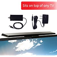 [2020 Version] GE HD Amplified TV Antenna, Easy Mount to Top of TV Design, Long Range, Supports 4K 1080P Digital HDTV VHF UHF, Included Amplifier Signal Booster, AC Adapter, 5 ft. Coax, Indoor, 37075