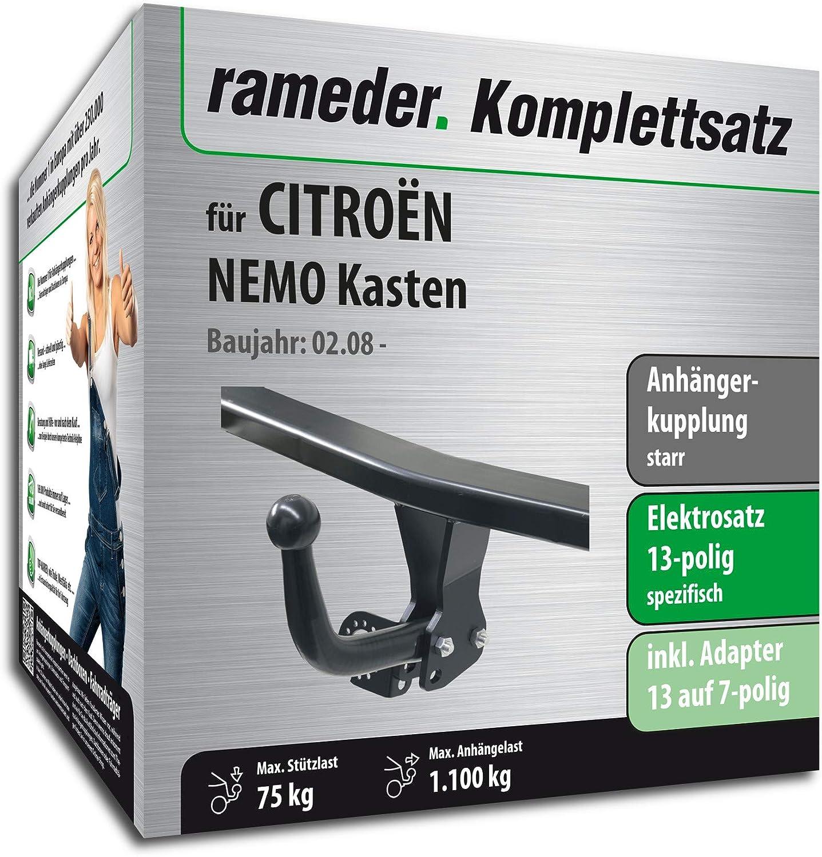 113407-06733-3 Rameder Komplettsatz Anh/ängerkupplung starr 13pol Elektrik f/ür CITRO/ËN NEMO Kasten