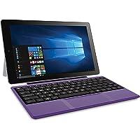 RCA Cambio Tablet Notebook de 10 pulgadas 2 en 1 con almacenamiento de 32GB, procesador Intel Atom Z8350, 2GB RAM, Windows 10, incluye teclado, Púrpura