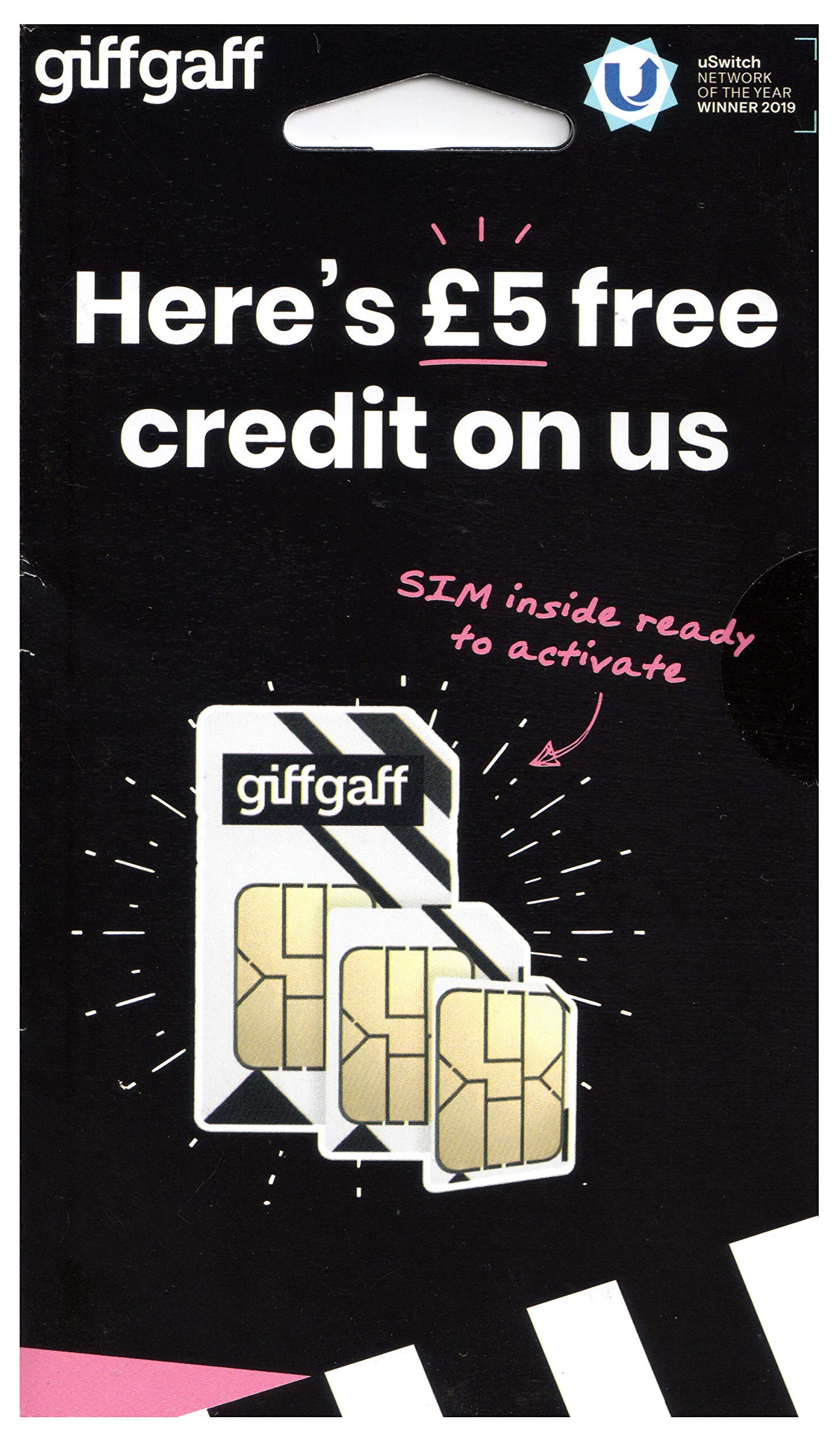 Giffgaff Multi Sim (Standard/Micro & Nano). £5 Bonus Credit Added When You Topup £10 First Time. Unlimited Calls, Texts, Data. Fits All Devices - iPhones, iPads, Tablets, Androids, Dongles & Wifi