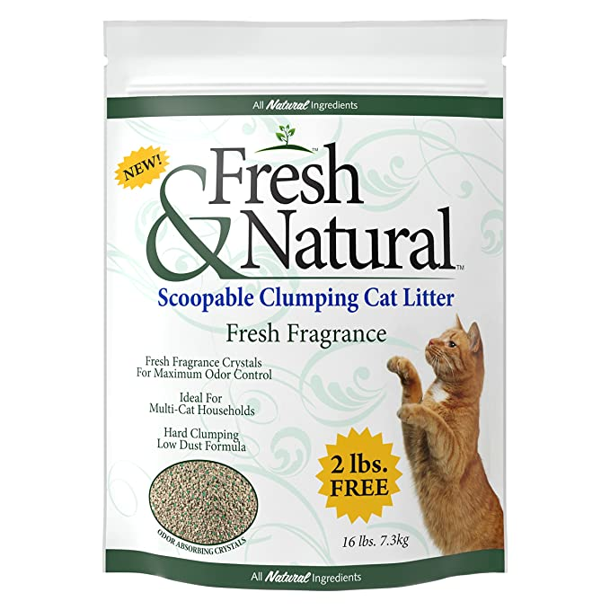 Amazon.com: Fresh & Natural Scoopable Clay Cat Litter, 40-Pound, Fresh Fragrance: Pet Supplies