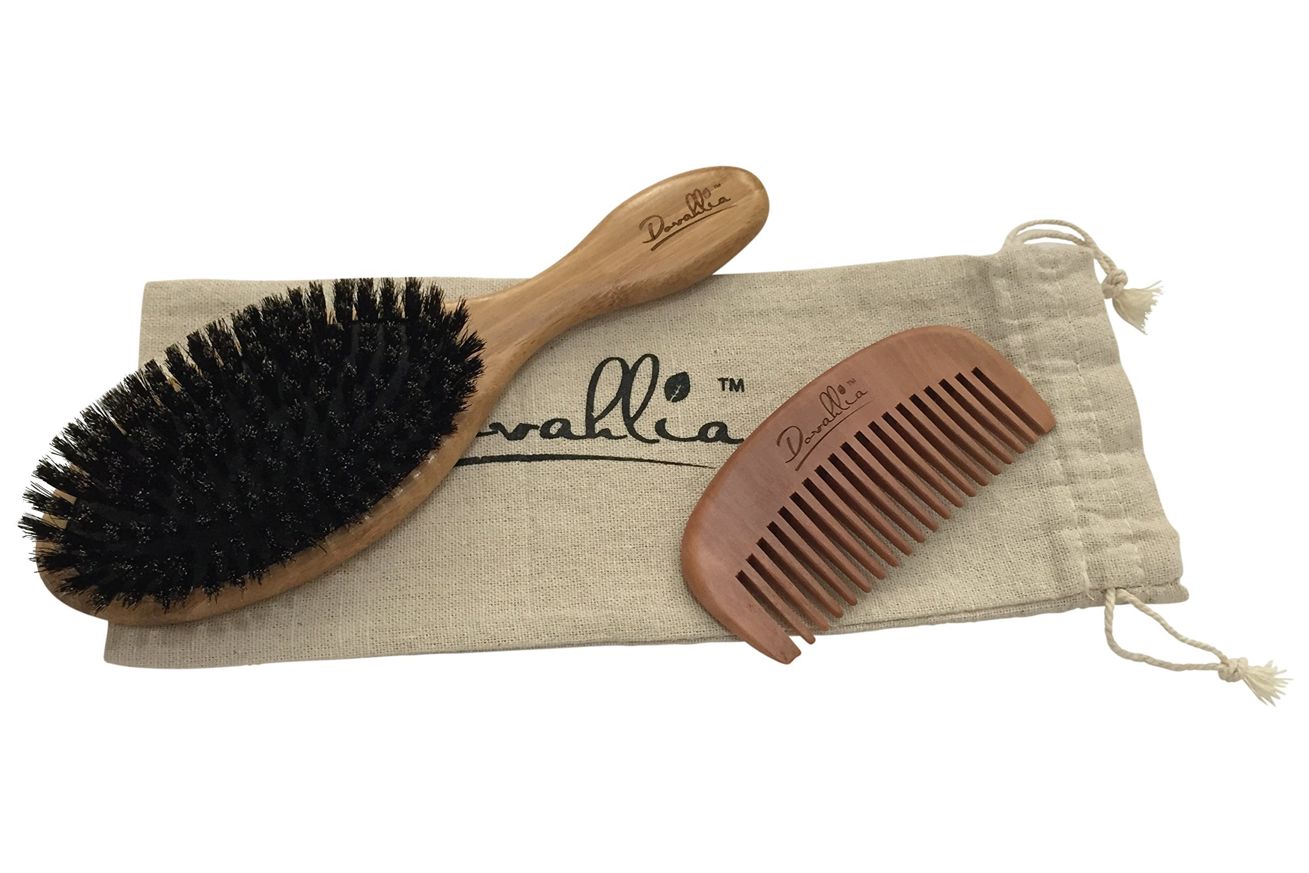 Boar Bristle Hair Brush Set for Women and Men - Designed for Thin and Normal Hair - Adds Shine and Improves Hair Texture - Wood Comb and Gift Bag Included (black) by Dovahlia (Image #9)