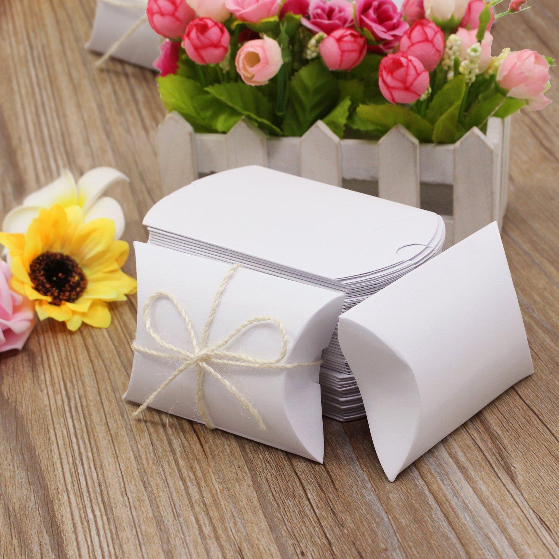 HSeaMall Caja de almohada Caja de regalo de caja de dulces de papel Kraft para boda, fiesta de cumpleaños, blanco, 50PCS: Amazon.es: Hogar