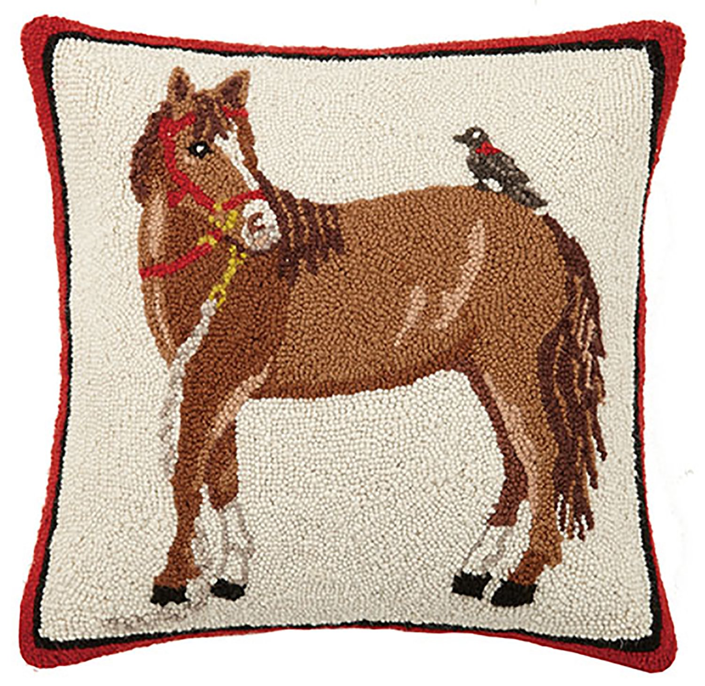 Peking Handicraft Horse with Blackbird Hook Pillow Brown//Red