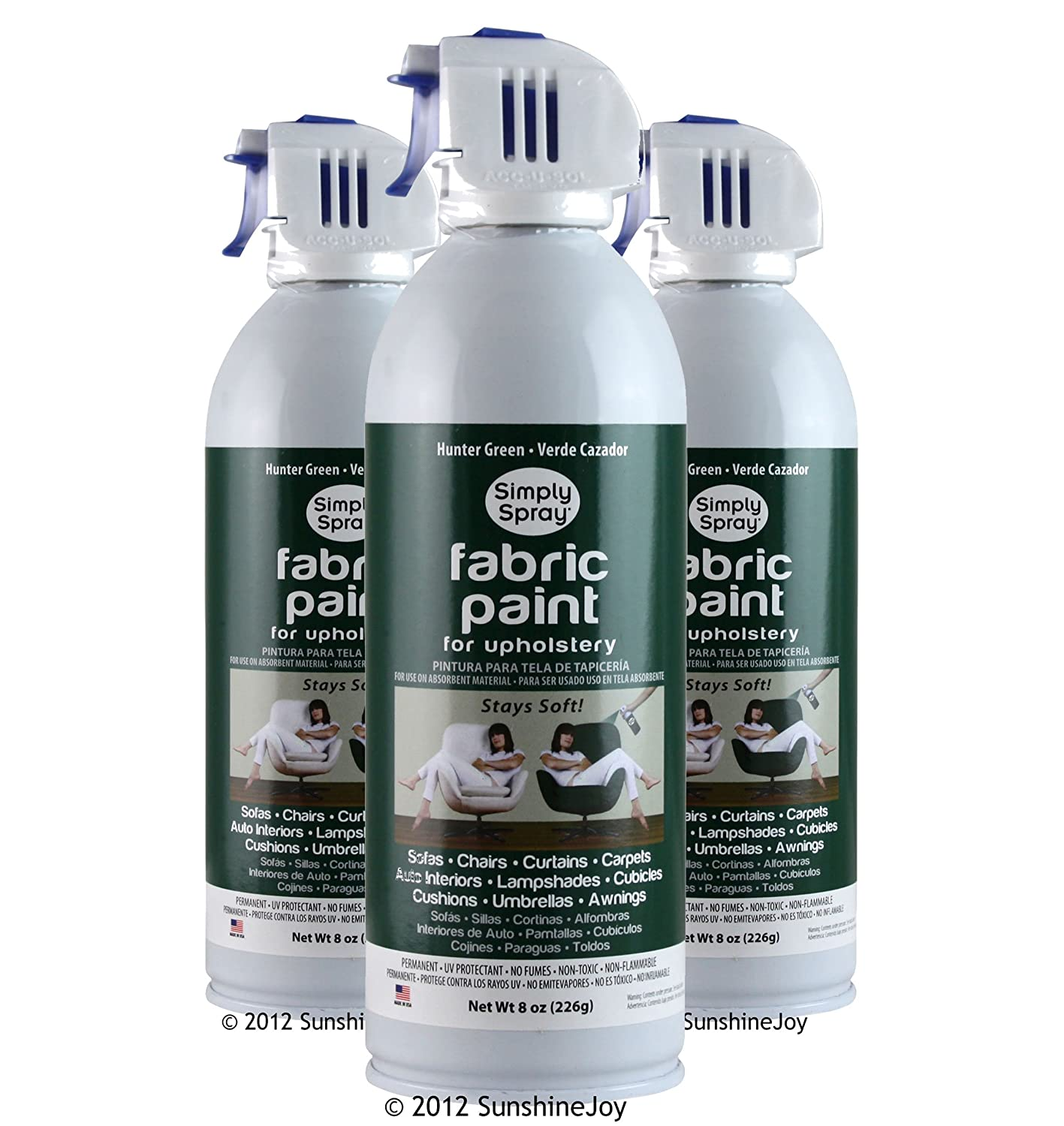 Amazon.com: Simply Spray Upholstery Fabric Spray Paint 8 Oz. Can 3 Pack Hunter Green: Home Improvement
