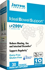Jarrow Formulas Ideal Bowel Support, 10 Billion Organisms per Cap, Reduces Bloating Gas and Intestinal Discomfort, 30 Count (Cool Ship, pack of 3)