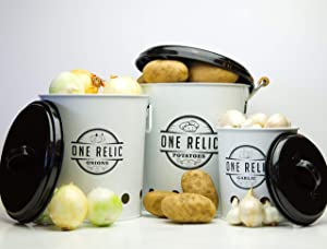 Canister Sets for Kitchen Counter I Kitchen Canisters Set of 3 Potato Bin Garlic Keeper Onion Storage by One Relic I Aerating Tin Storage Holes & Black Metal Lid with Wooden Handles Potato Storage