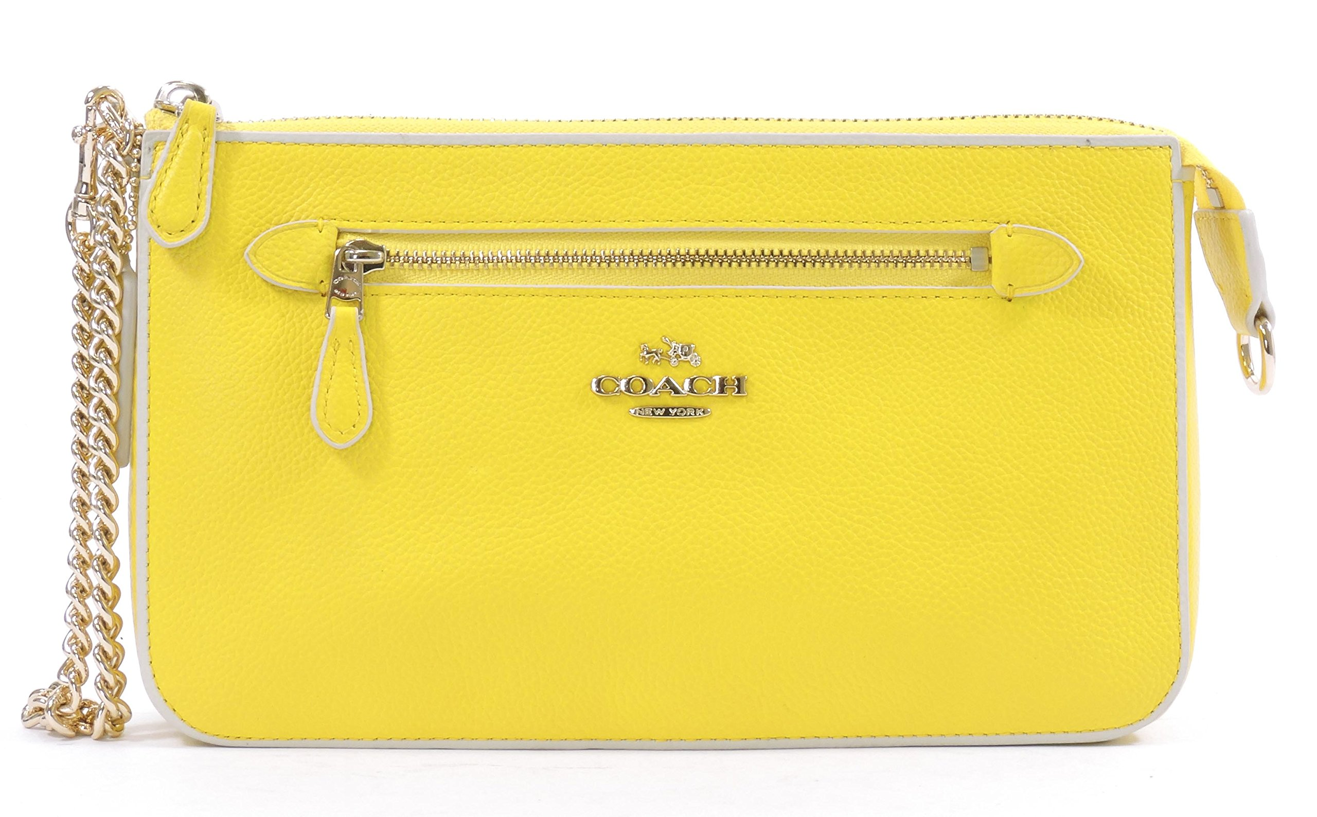 Coach Women's Yellow Chalk Nolita Wristlet 24 Colorblock Leather Wristlet Purse