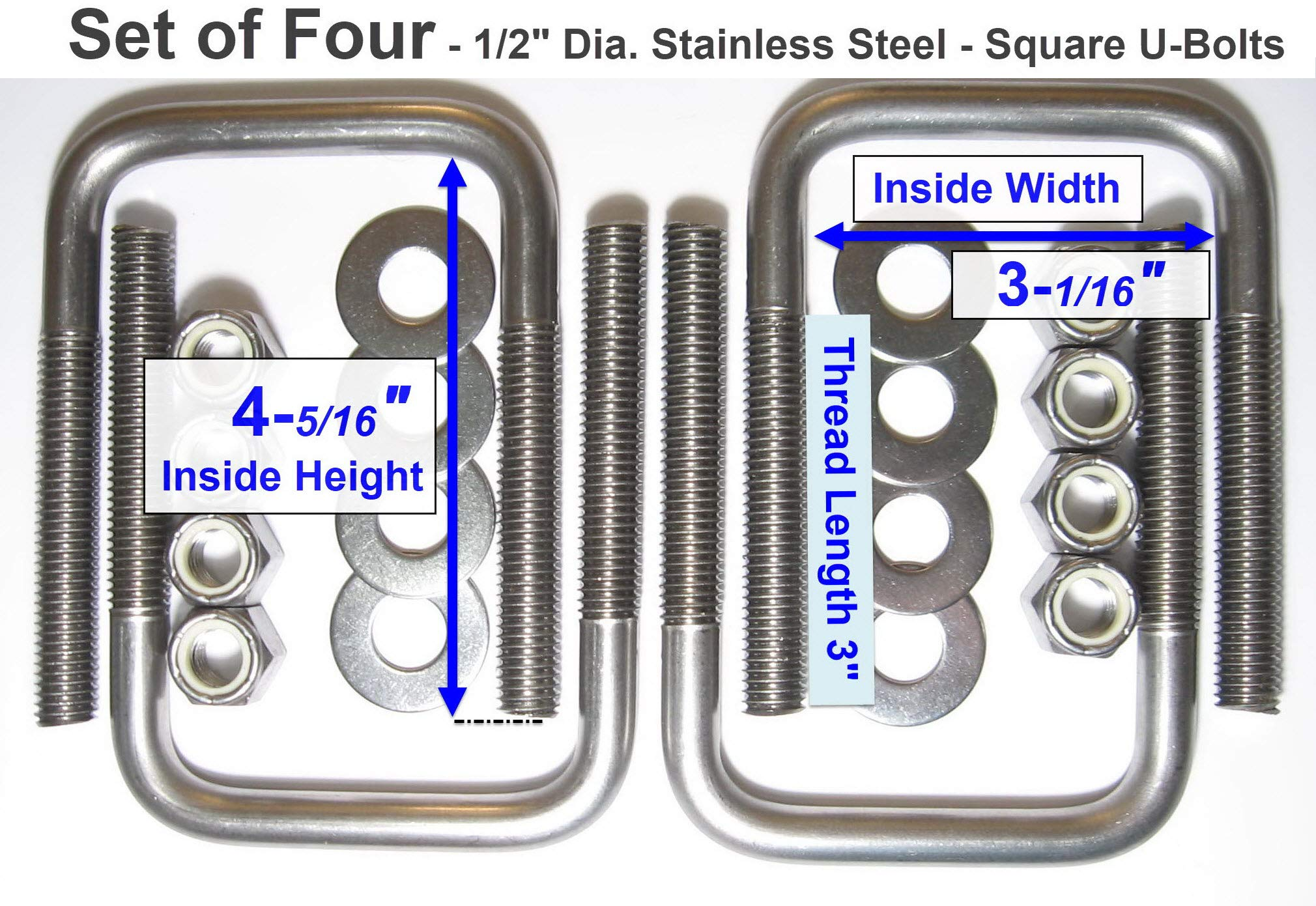 TMW (4) SS Stainless Steel Square U-Bolts Boat Trailer U bolt Ubolt 1/2'' D x 3 1/16'' W x 4 5/16'' L by TMW