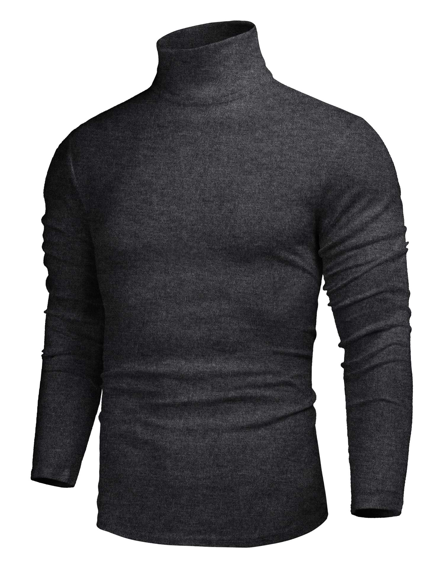 SELX Men Plus Size Plus Size Classic Solid Turtle Neck Slim Thermal Knit Pullover Sweaters