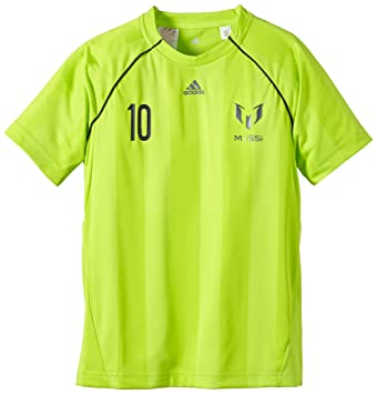 adidas Youth Boys Messi - Camiseta de manga corta para niños, diseño de Messi amarillo