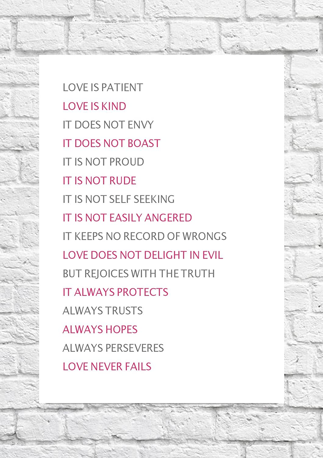 Love Is Patient Love Is Kind   The Bible 1 Corinthians 13:4 Poster/