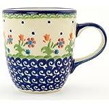 Polish Pottery Mug 11 oz Spring Flowers From Boleslawiec