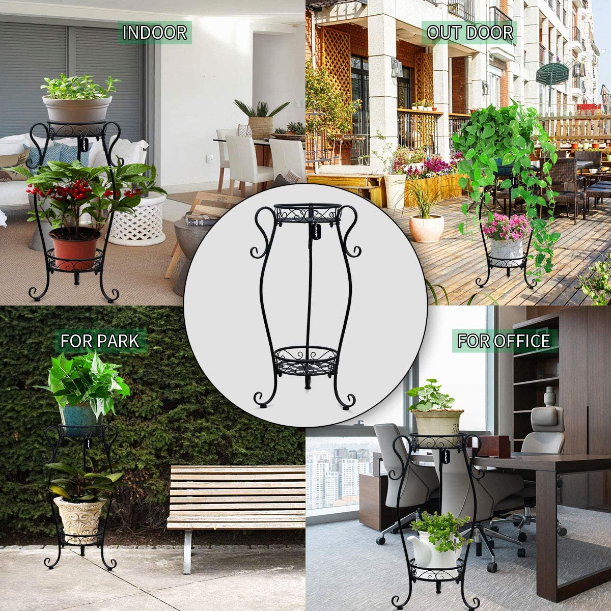 Outdoor Indoor AISHN Metal Plant Stand 2-Tiered Potted,Supports Floor Flower Pot Round Rack Display,Perfect for Home Garden Patio
