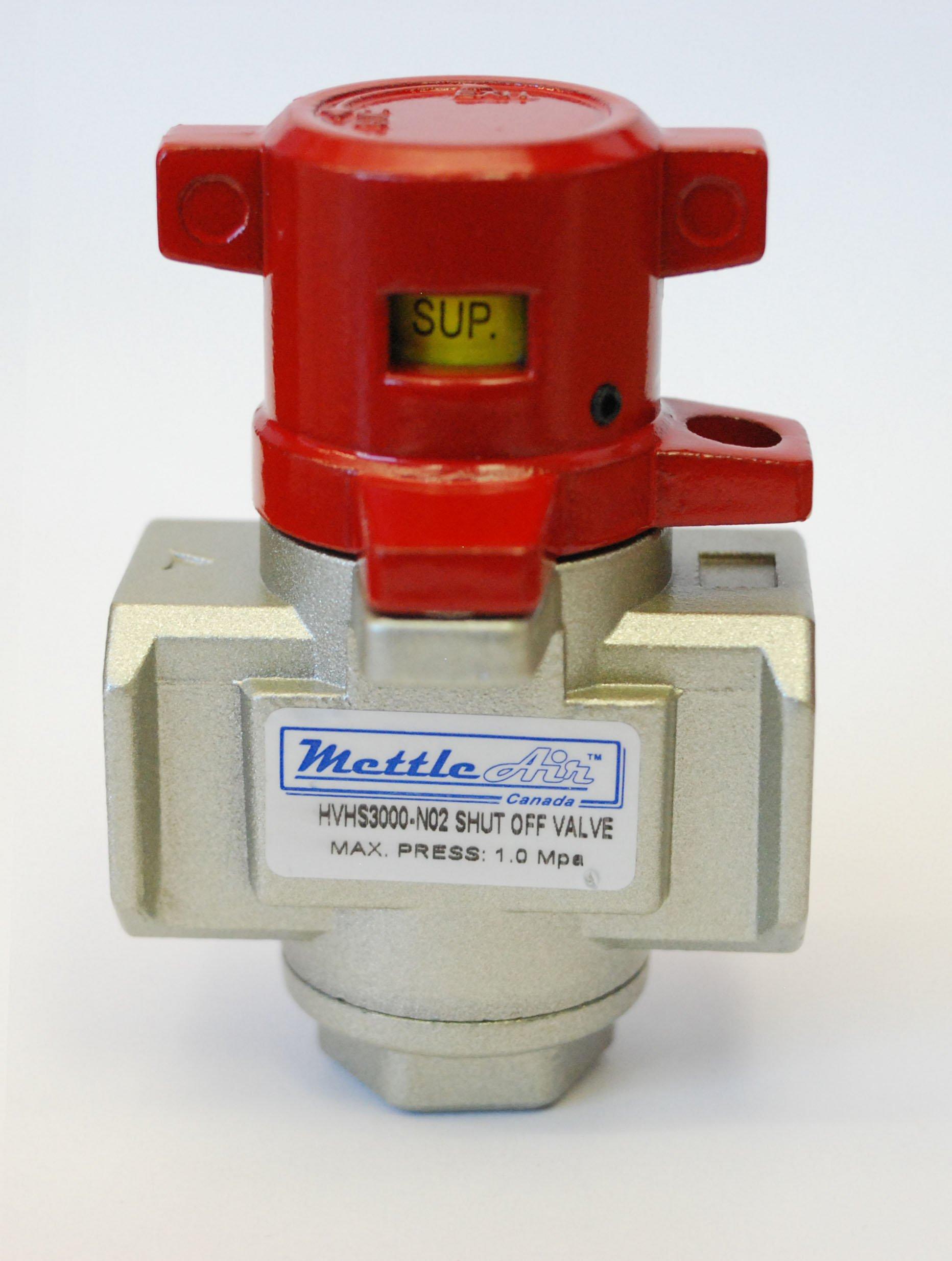 Safety Shut Off / Lock Out Valve 3000 Series 1/4'' NPT Pneumatic Compressed Air MettleAir