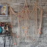 Dewel 天然貝殻型 網 インテリア ウォール飾り レストラン 織物 魚網 雰囲気作り (貝殻型, ホワイト)