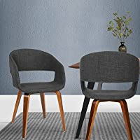 Artiss 2 x Dining Chairs, Fabric Upholstered Dining Chairs with Wooden Legs, Charcoal
