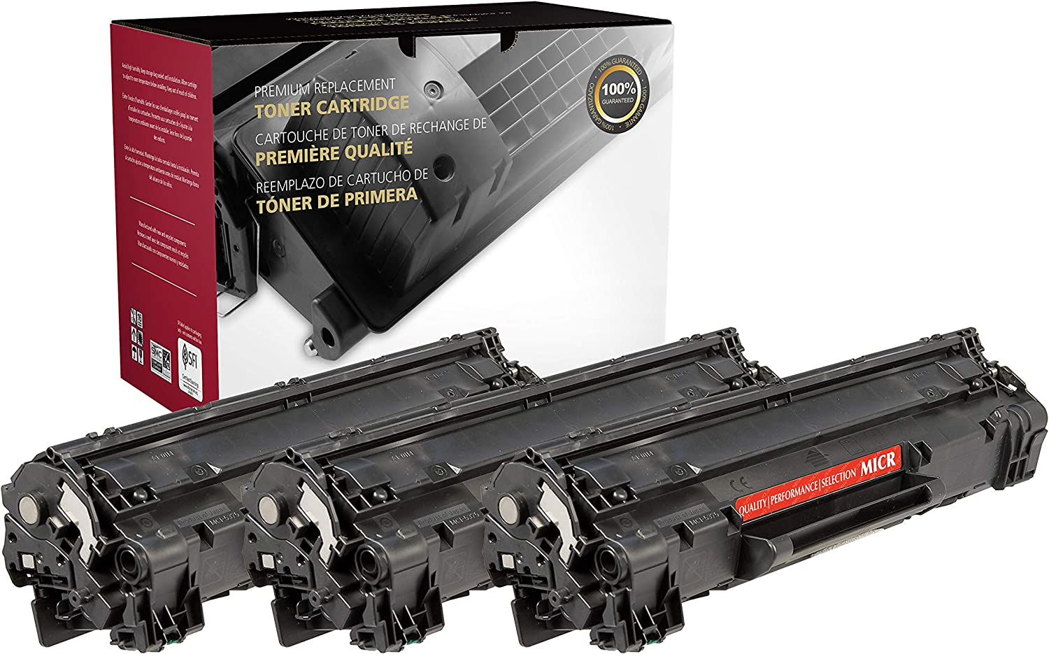 - 3 Pack Black Inksters Remanufactured Toner Cartridge Replacement for HP CF283X MICR HP 83X 2.2K Pages - High Yield