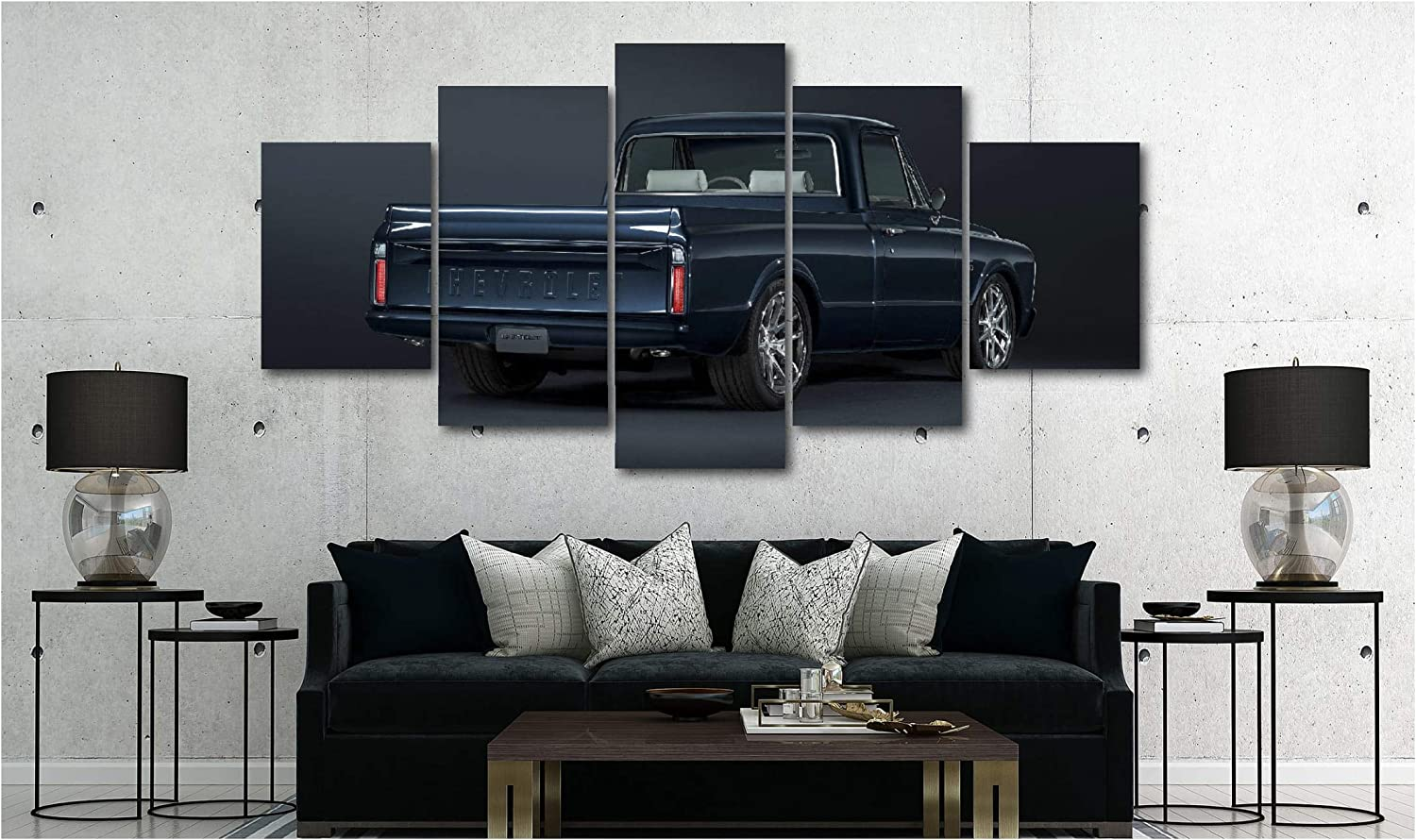5 Piece Luxury Canvas Posters of Sports Cars Supercar Exotic Luxury Modern Wall Art Decor (5 Piece Medium, 1967 Chevy Truck)