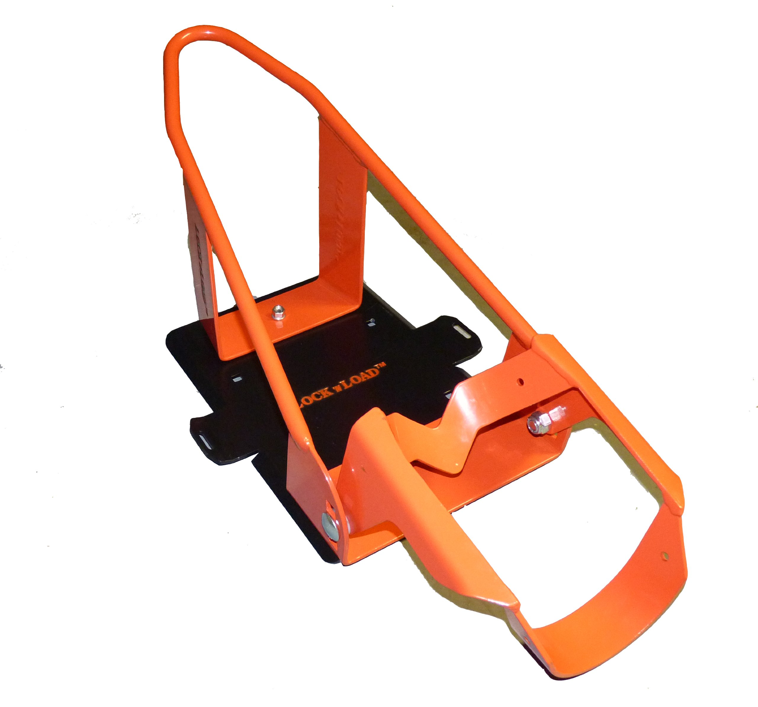 Lock N Load (BK100 Orange/Black Deluxe Motorcycle Wheel Chock by Lock N Load