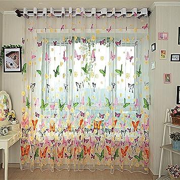 Amazon De Gwell Kinderzimmer Schmetterling Voile Vorhang Mit Osen
