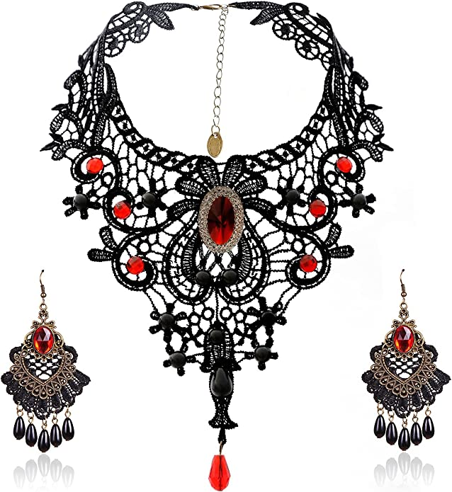 Classic Black Lace Velvet Choker Necklace Hot Pink Acrylic Jewel Beaded Pendant Gothic Victorian Steampunk Party