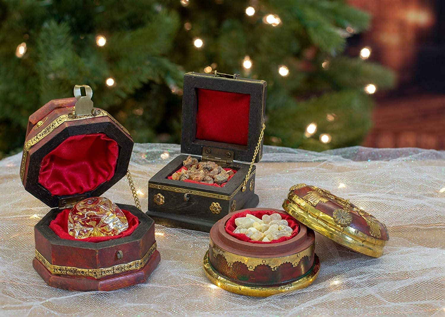 THREE KINGS GIFTS THE ORIGINAL GIFTS OF CHRISTMAS 3 Box Set Deluxe Gold Frankincense & Myrrh
