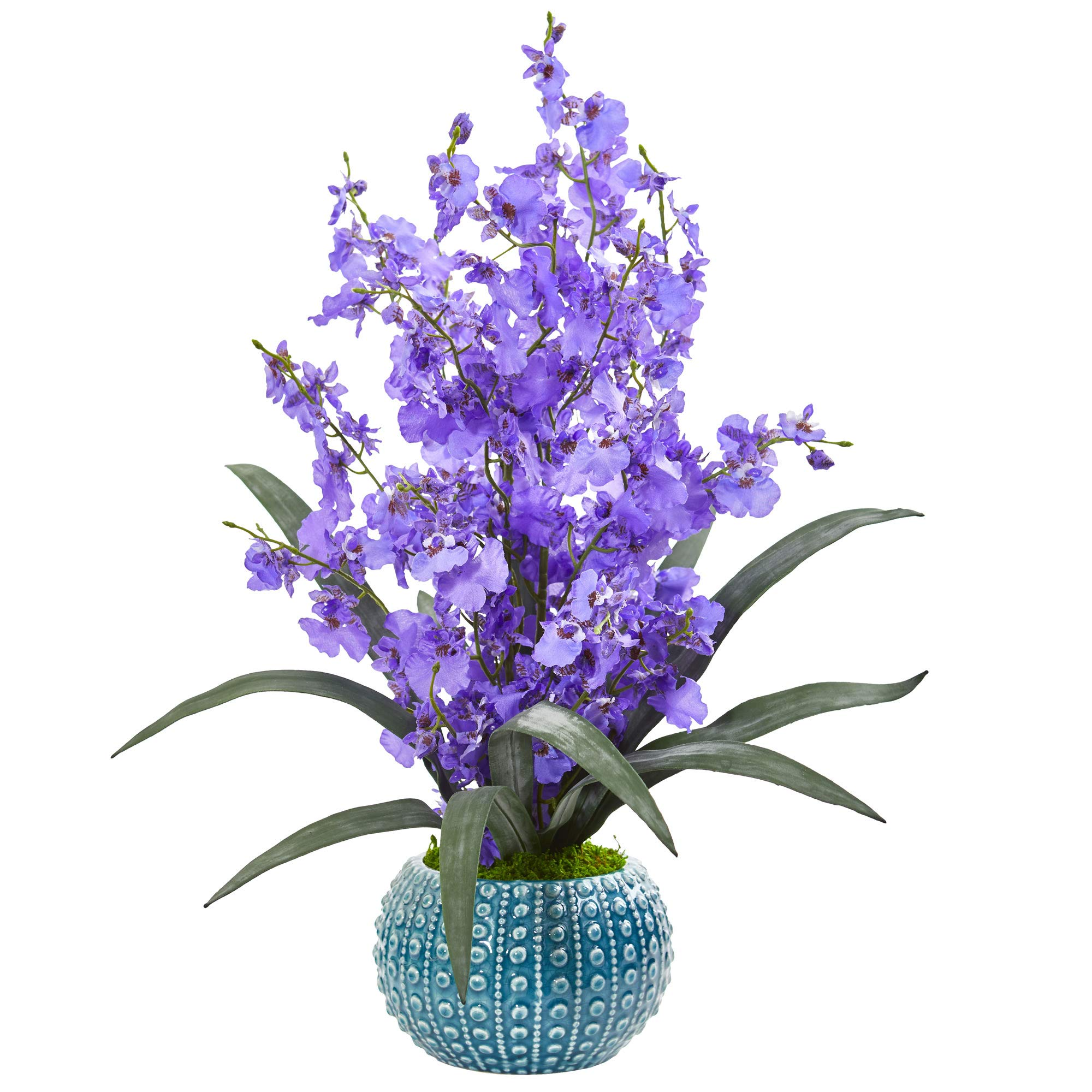 Nearly Natural 1822-PP Dancing Lady Orchid Artificial Blue Vase Silk Arrangements Purple