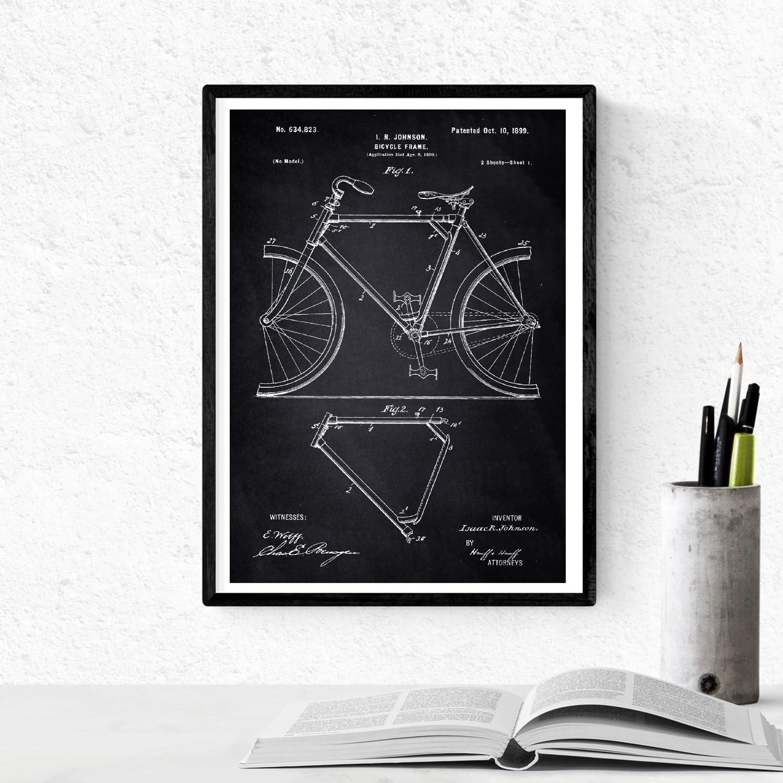 Nacnic Negro - Pack de 4 láminas con Patentes de Bicicletas. Set de Posters con inventos y Patentes Antiguas. Elije el Color Que más te guste. Impreso en Papel de 250 Gramos: