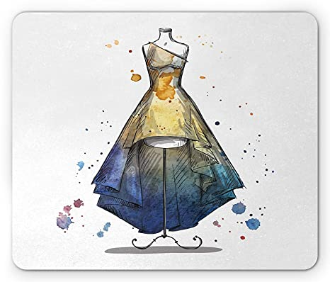 22165f1383b46 Amazon.com : Fashion Mouse Pad, Sketchy Watercolor Mannequin with ...