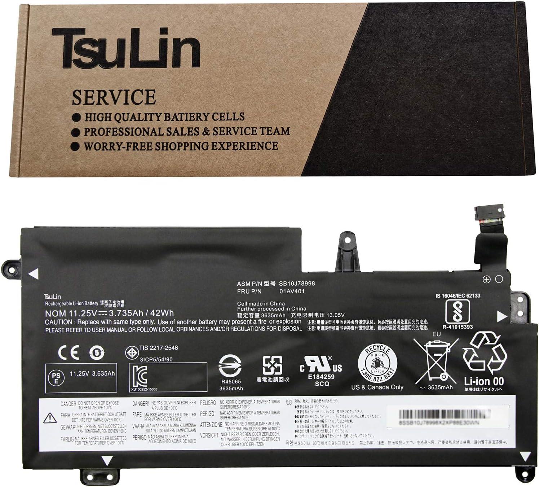 TsuLin 01AV401 Laptop Battery Replacement for Lenovo ThinkPad 13 Chromebook S2 2016 Series Notebook SB10J78998 01AV402 01AV400 SB10J78999 01AV435 01AV436 01AV437 11.25V 42Wh 3735mAh