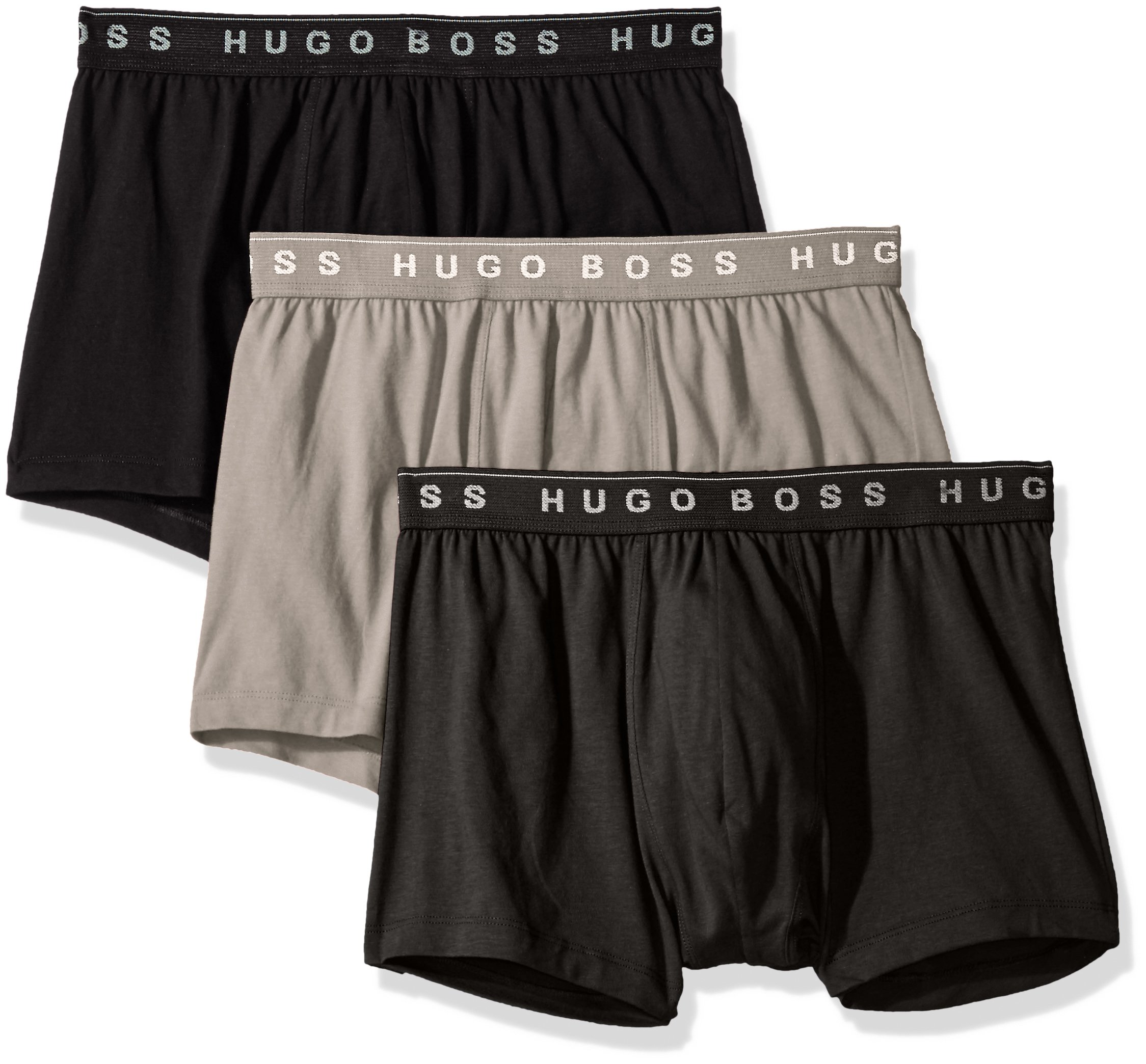 Hugo Boss BOSS Men's 3-Pack Cotton Trunk, New Grey/Charcoal/Black, Large