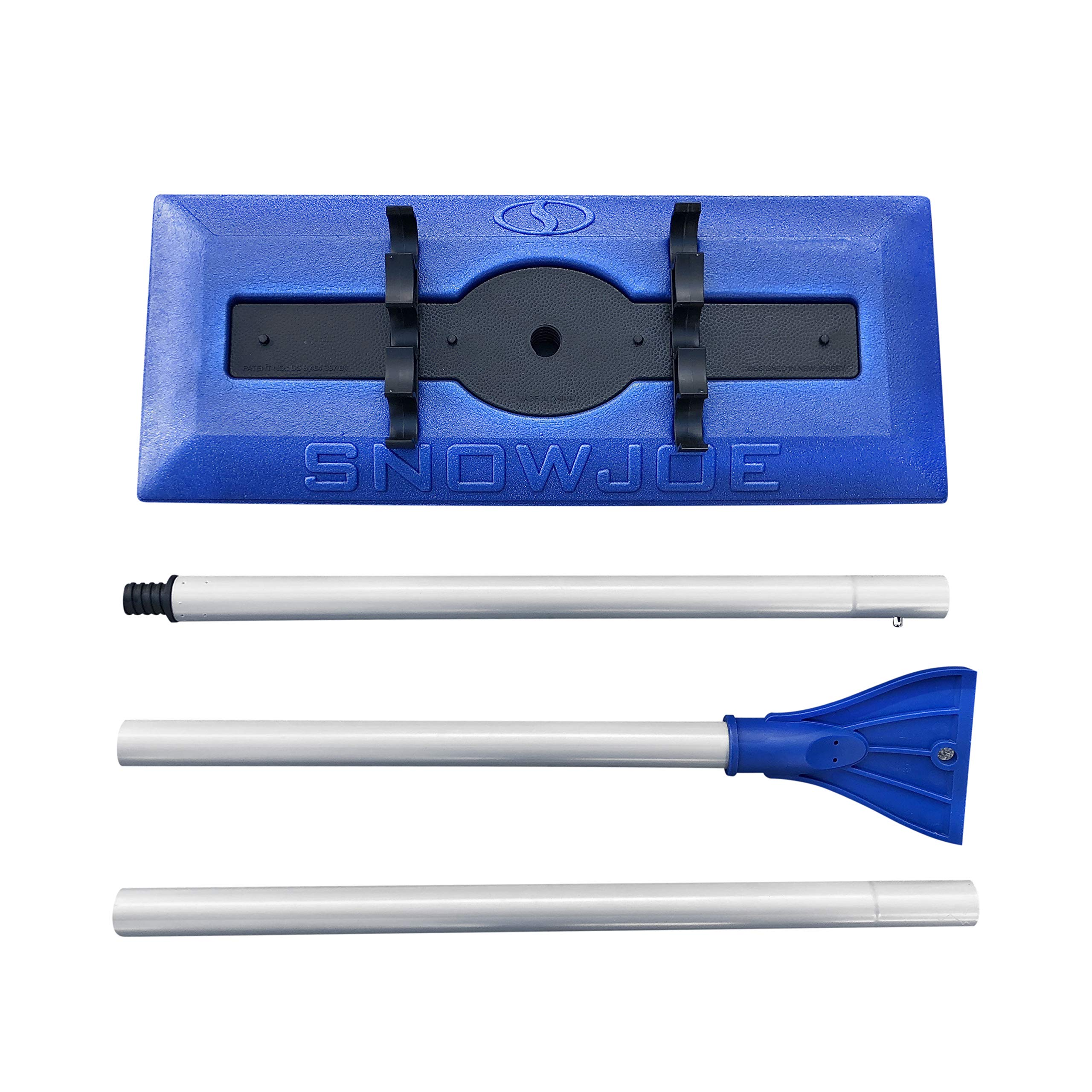 Snow Joe SJBLZD 18 Broom Snow Removal Tool w/52-Inch Compact Handle w/ 4-Inch Oversized Ice Scraper