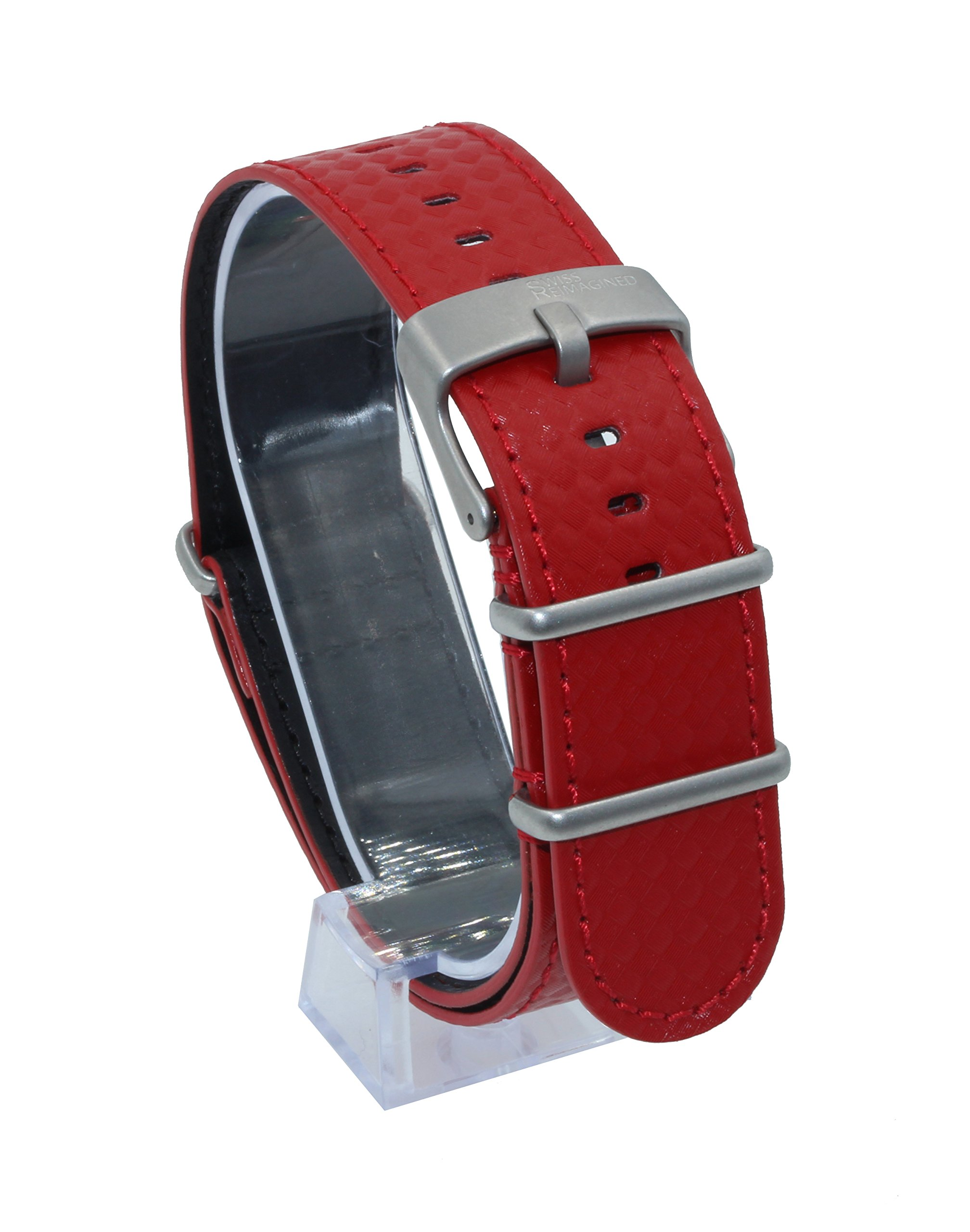 SWISS REIMAGINED Quality Genuine Leather NATO Replacement Carbon Watch Band Strap - Red by Swiss Reimagined (Image #2)