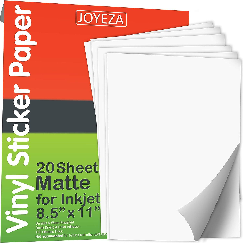 JOYEZA ???????????????????????????? Printable Vinyl Sticker Paper for Inkjet Printer ???????? ???????????????????????? Matte White Waterproof, Dries Quickly Vivid Colors, Holds Ink Well- Tear Resistant - Inkjet & Laser Printer