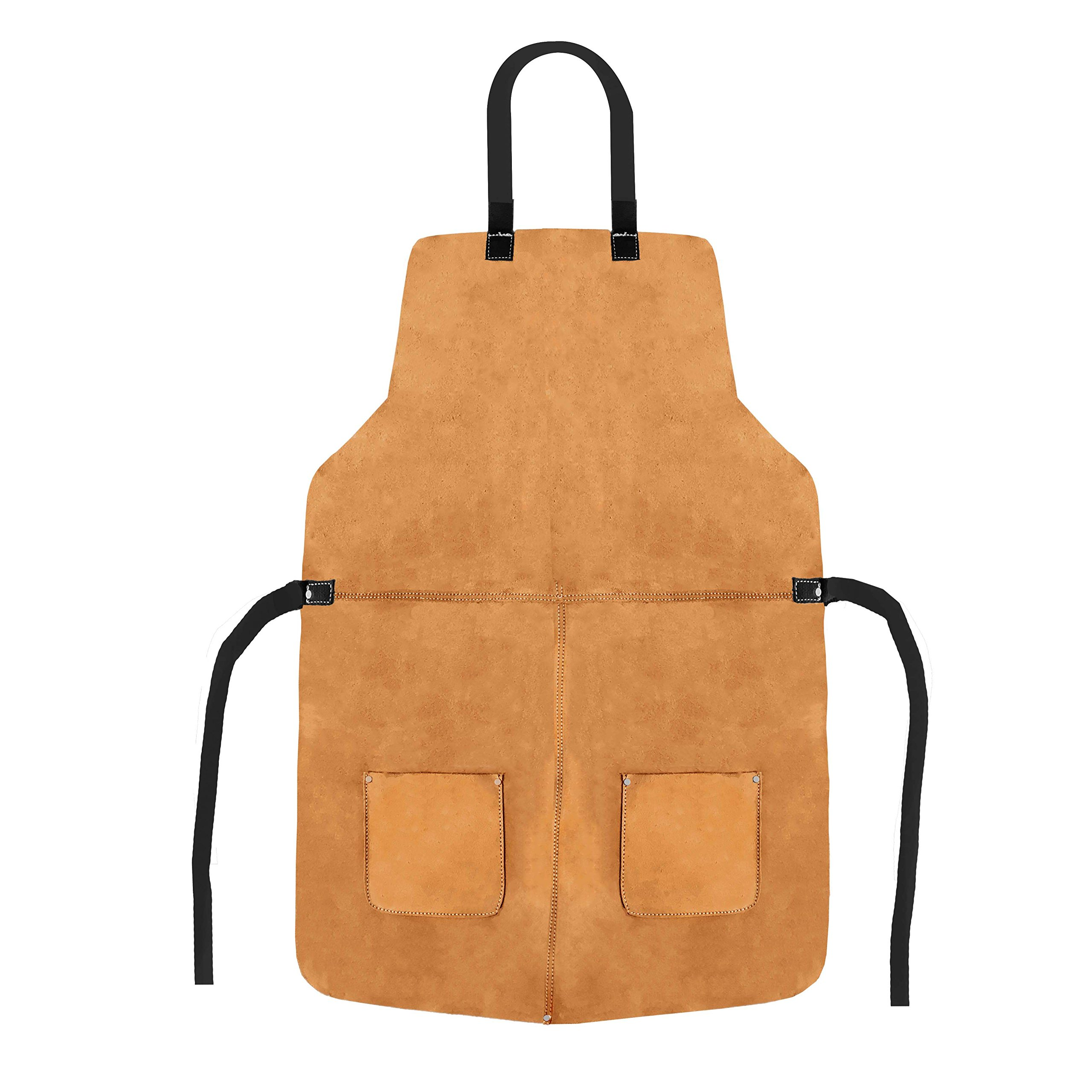Big and Tall Split-Cowhide Leather Grinder's Shop Utility Apron With Pockets - Heat Resistant