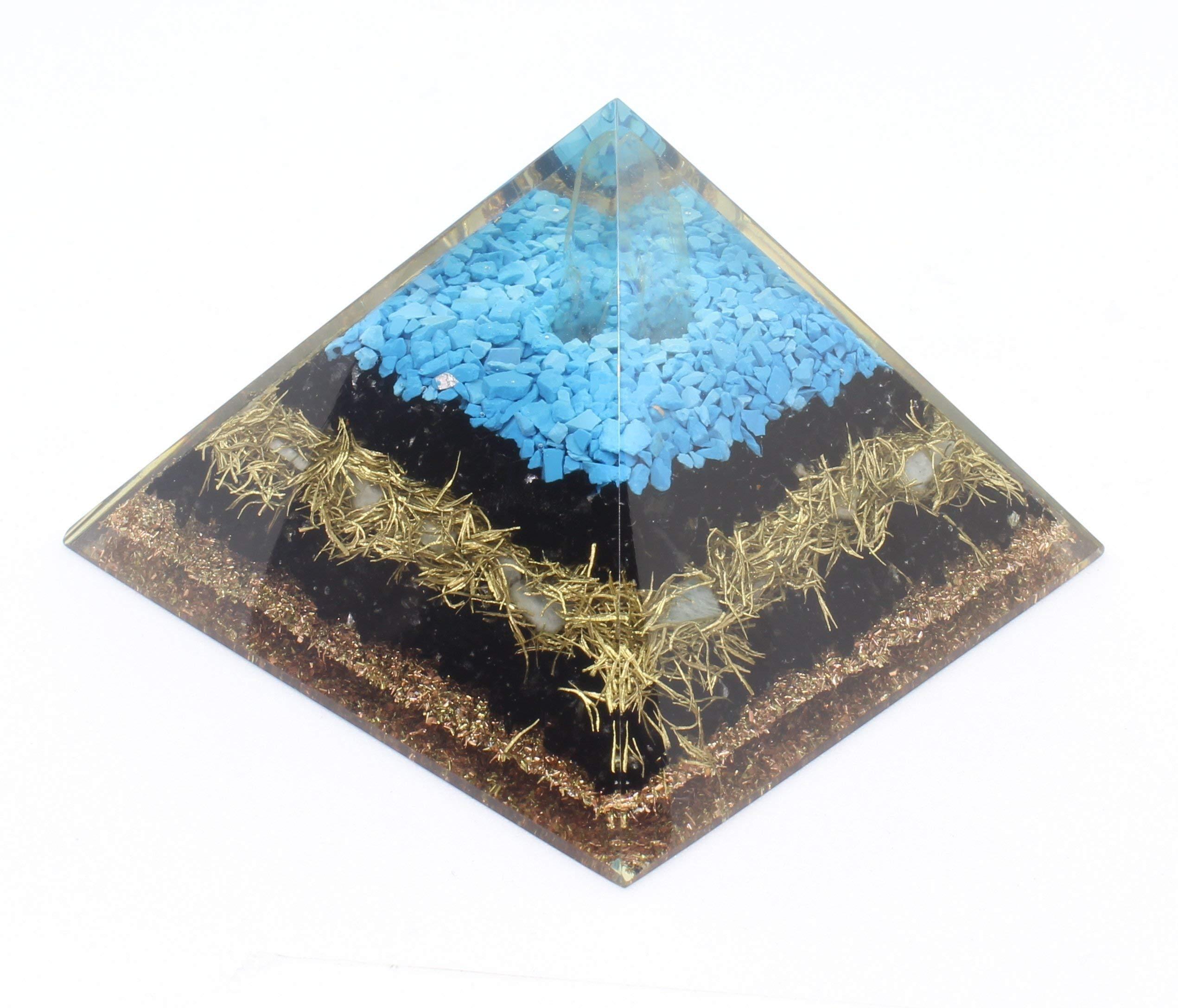 Orgone Pyramid Energy Generator Turquoise Black Tourmaline Pyramid for Emf Protection Detoxification Meditation Healing Chakra