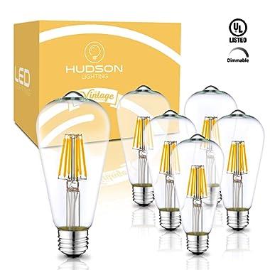 Dimmable LED Edison Light Bulbs: 6 Watt, 2700K Soft White Lightbulbs - 60W Equivalent - E26 Base - Vintage Light Bulb Set - 6 Pack