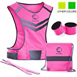Premium Reflective Vest EvoLike of Unique Design for Running Walking Cycling Jogging Motorcycle with Pocket + 4 High Visibility Wristbands + Bag
