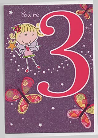 Childrens Birthday Card For Three 3 Year Old Girl