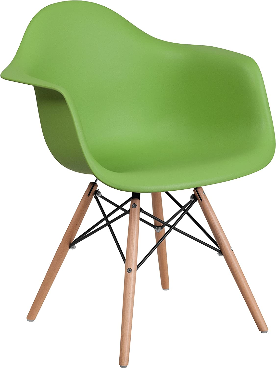 Flash Furniture Alonza Series Green Plastic Chair with Wooden Legs