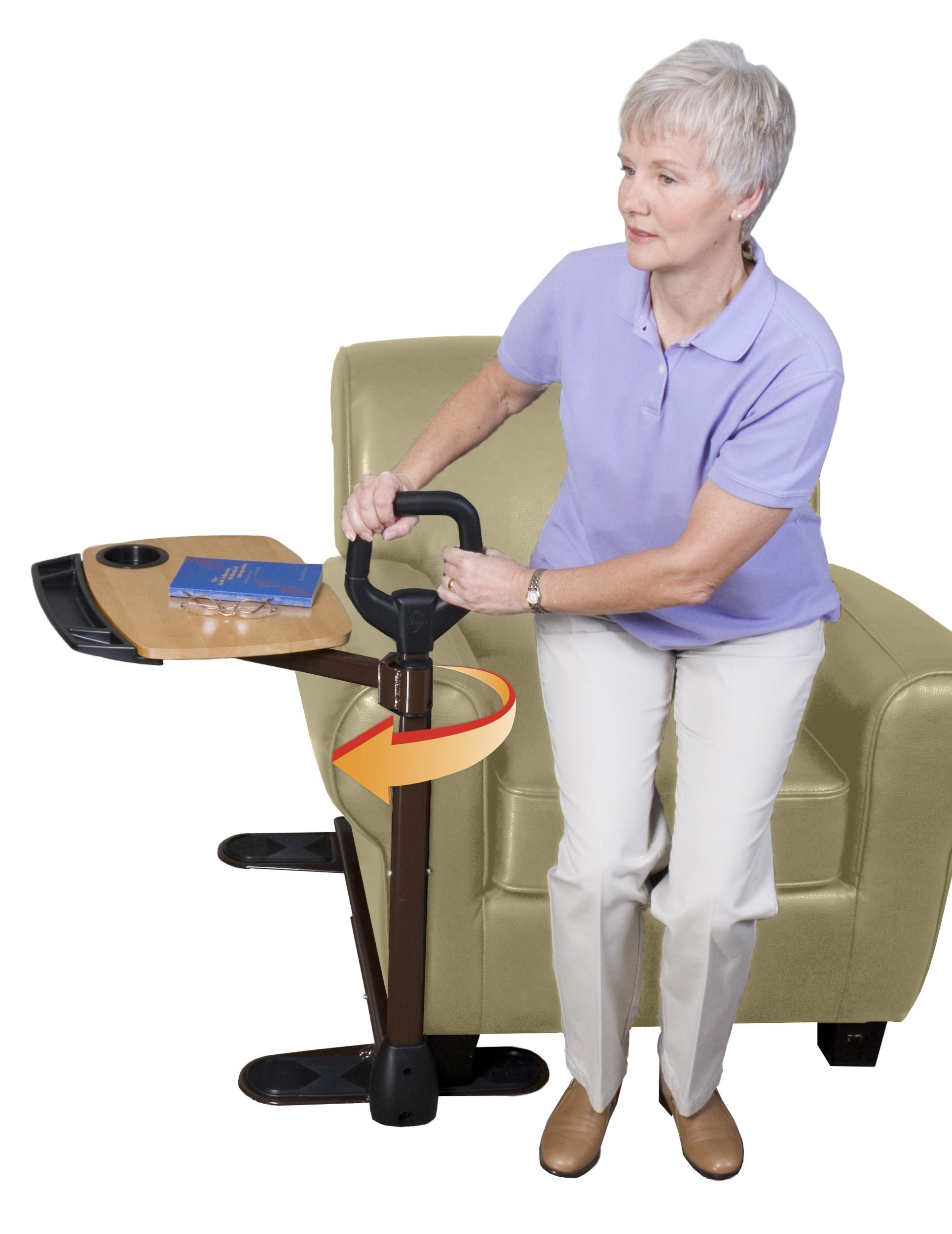 Able Life Able Tray Table, Adjustable Bamboo Swivel TV and Laptop Table with Ergonomic Stand Assist Safety Handle, Independent Living Aid by Able Life