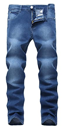Men's Blue Skinny Jeans Stretch Washed Slim Fit Straight Pencil Pants ,Blue,W33