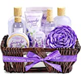 Spa Gifts Basket for Women,10pc Bath Gift Set Scented with Lavender in Handmade Weaved Basket, Contains Bath Salts, Bubble Ba