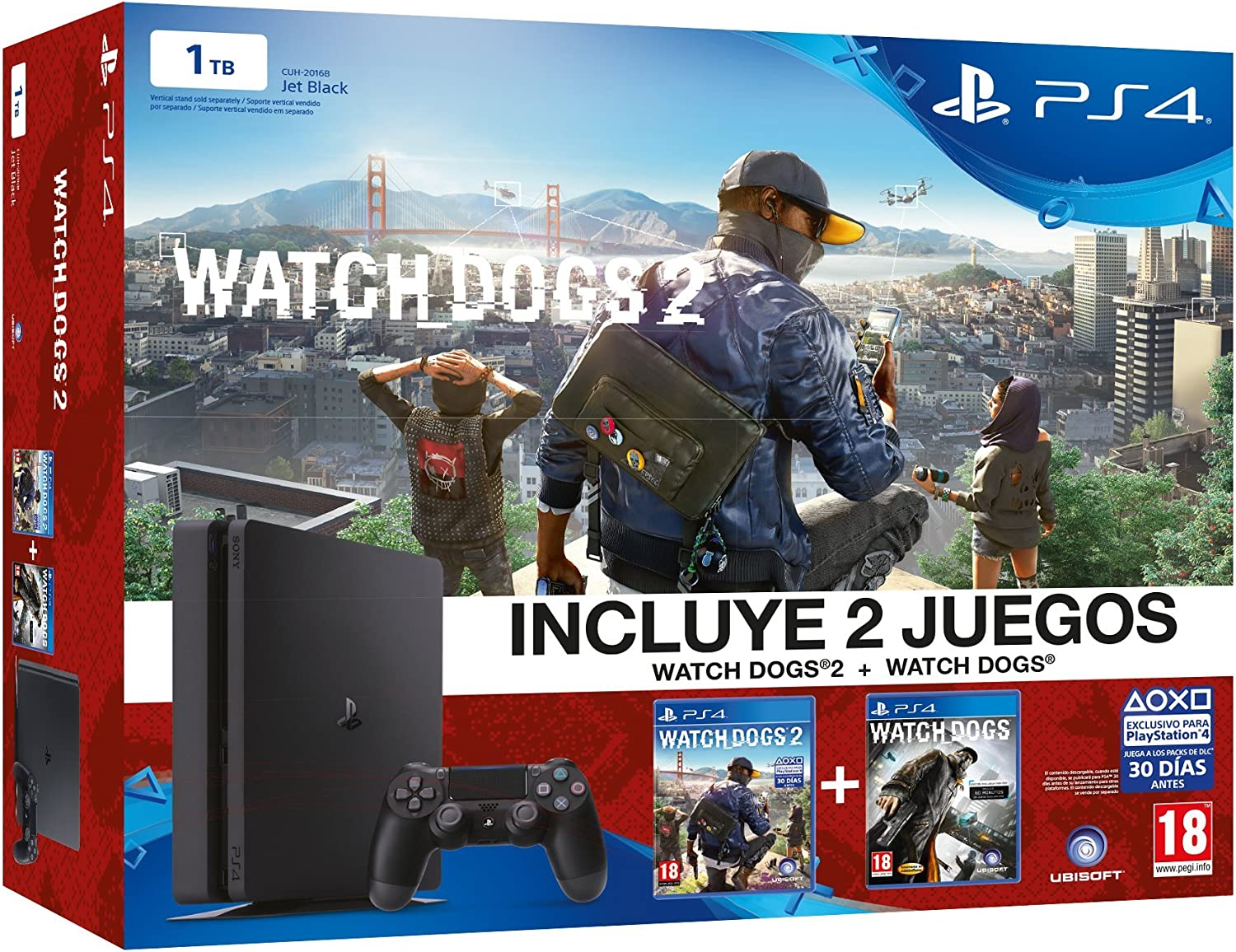 PlayStation 4 Slim (PS4) 1TB - Consola + Watch Dogs 2 + Watch Dogs ...