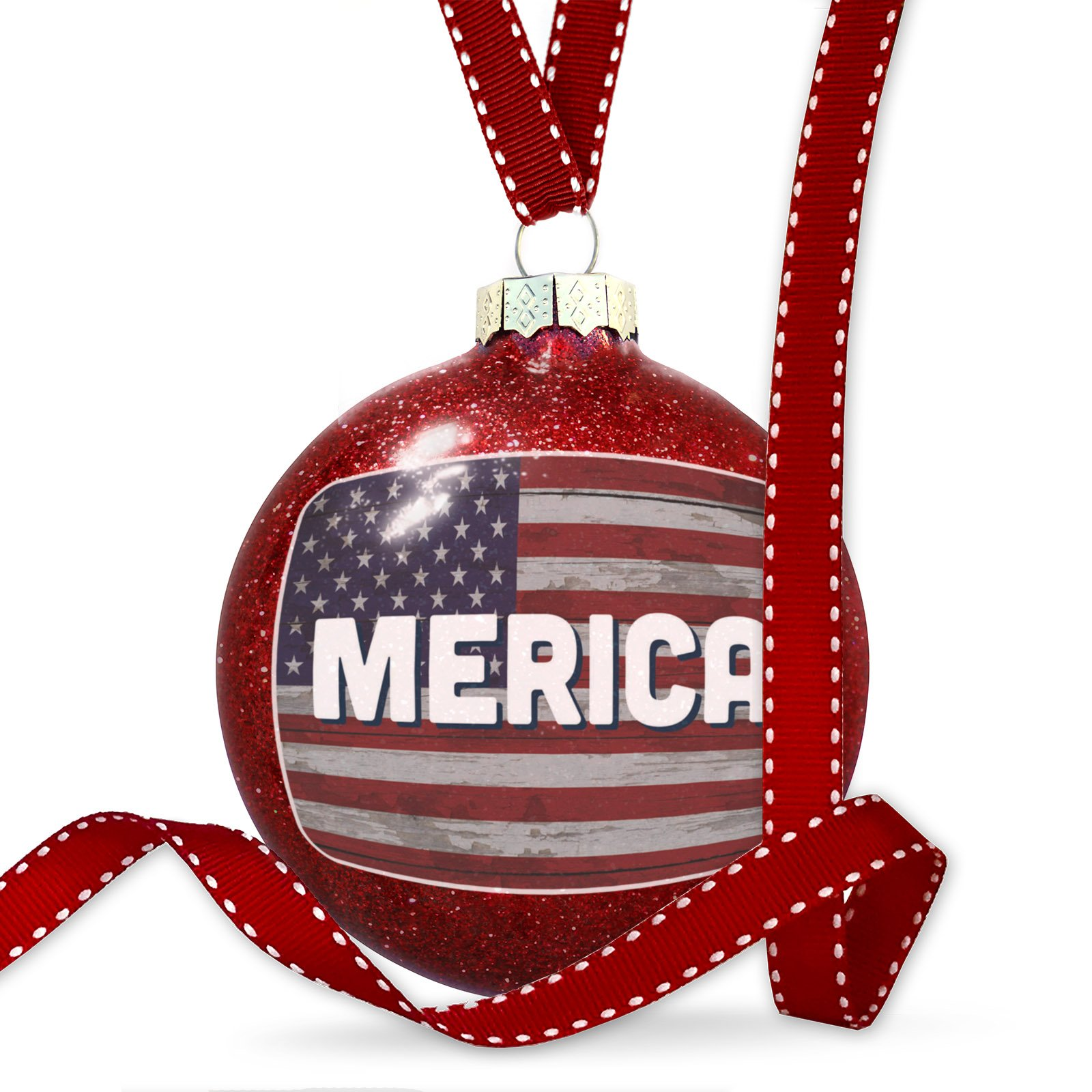 Christmas Decoration Merica Fourth of July Vintage Wood Flag Ornament