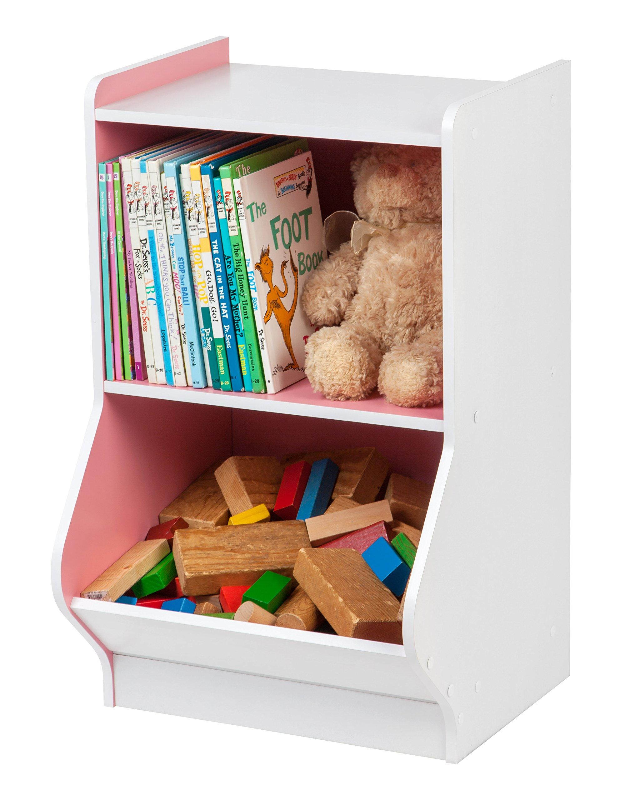 IRIS 2-Tier Storage Organizer Shelf with Footboard, White and Pink by IRIS USA, Inc. (Image #3)